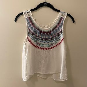 Lace and tribal print tank